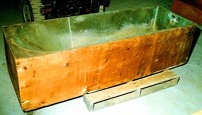 mid-19th C. zinc/ copper tub in pine box frame