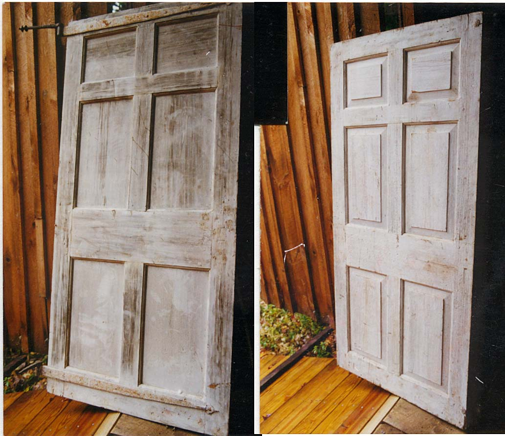18th C. panelled front door w/ strap hinge