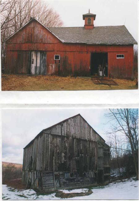 Red barn is a 23 x 42 CT. barn. The gray 1806 barn is typical of  central NY state.