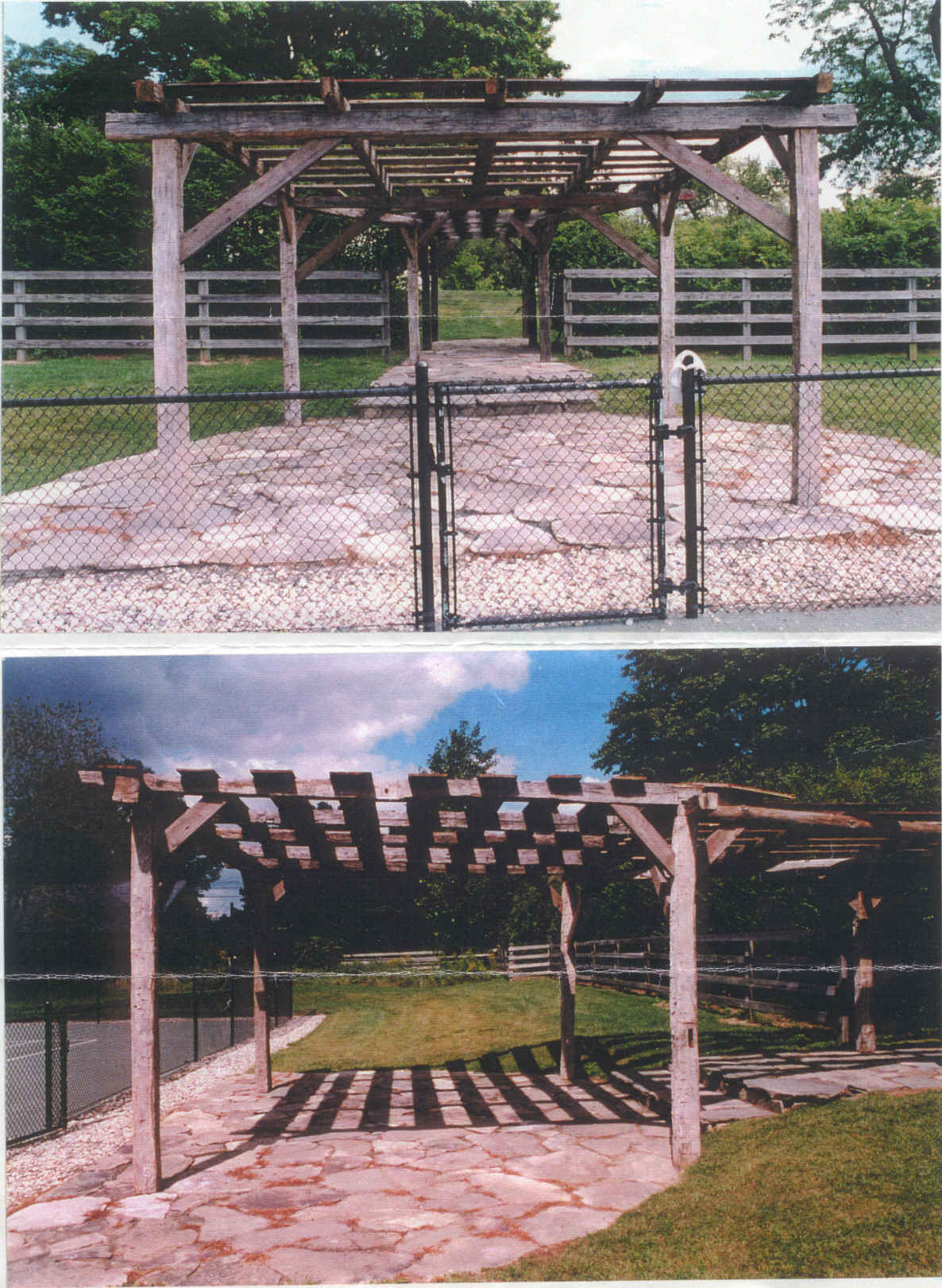 Pergola constructed of antique barn beams